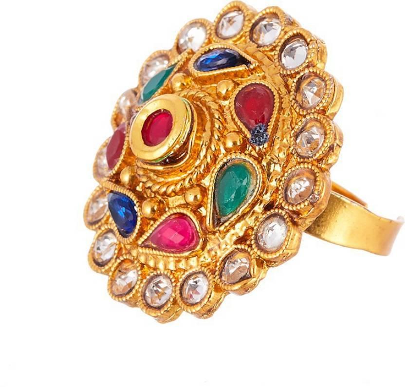 Zeneme Kundan Studded Statement Adjustable Ring with Yellow