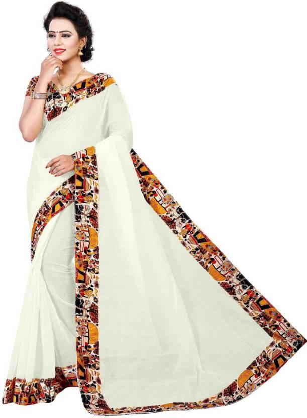 2866b4b37 Buy Jinal   Jinal Plain Chanderi Cotton White Sarees Online   Best ...