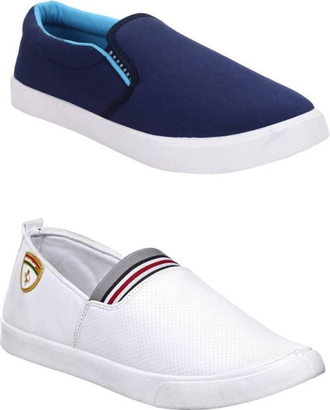 2396ef6ae9c Jootiyapa Combo-(Lightblue-White) Slip On Sneakers For Men - Buy ...