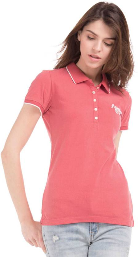 d22485a9651 Aeropostale Solid Women Polo Neck Red T-Shirt - Buy Aeropostale Solid Women  Polo Neck Red T-Shirt Online at Best Prices in India