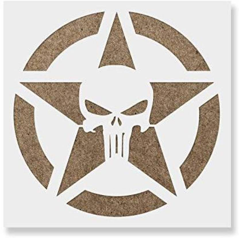 d13181944 Genrc Punisher Skull Star Stencil Template for Walls and Crafts - Reusable  Stencils for Painting in Small   Large Sizes - Punisher Skull Star Stencil  ...