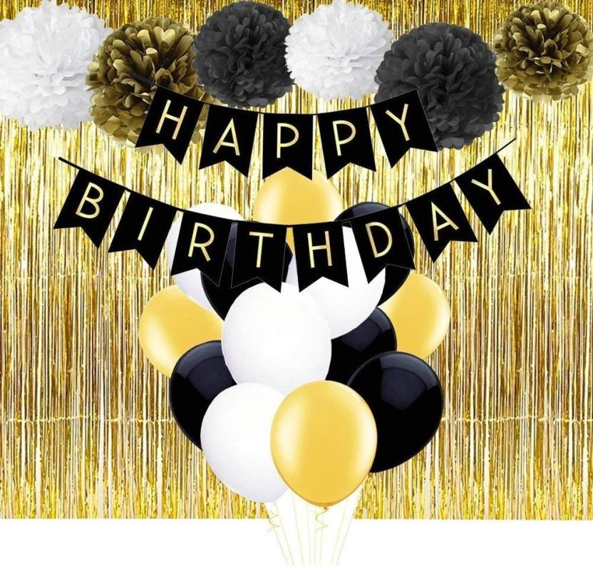 Theme My Party Birthday decoration combo (black/gold