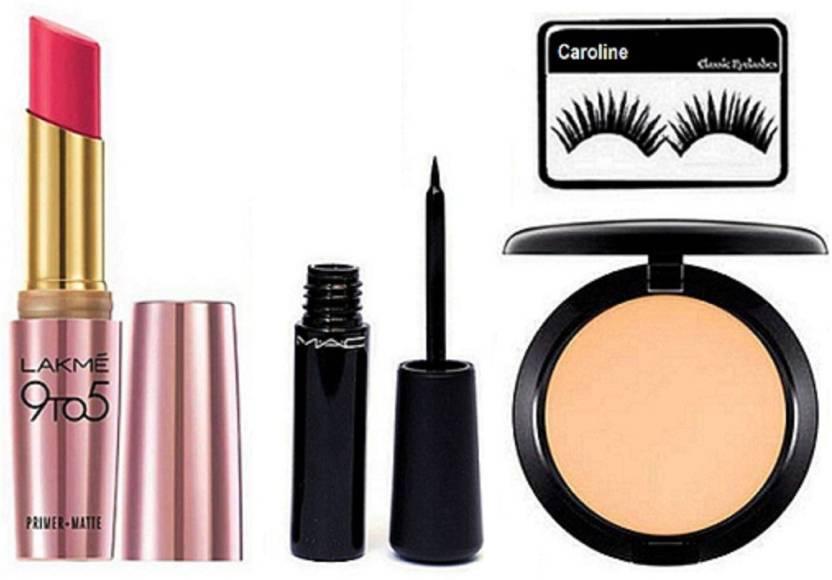 6919de0c68 caroline Eyelashes & Lakme 9 to 5 Primer+Matte Lipstick Pink Perfect, Mac  Liquid Last Eyeliner& Studio Fix Compact (Set of 4)