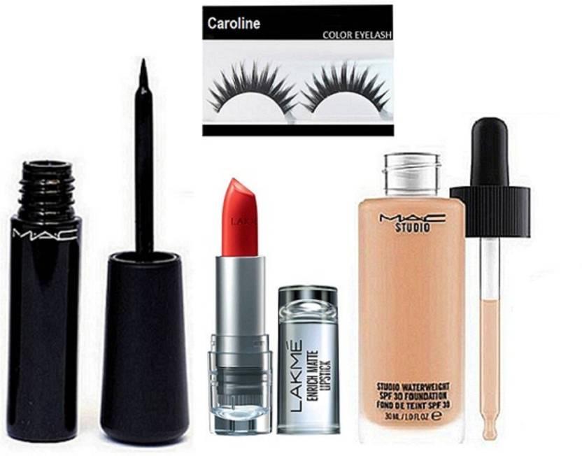 4ad5fcd181 caroline Eyelashes, Mac Waterweight Eyeliner, Studio Water Weight Spf 30  Foundation& Lakme 9to5 Enrich Matte Lipstick (Set of 4)