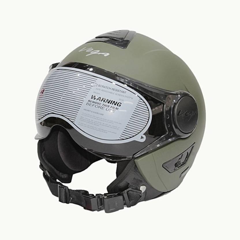 e5a65229 VEGA VERVE OPEN FACE DULL ARMY GREEN MEDIUM Motorbike Helmet (DULL ARMY  GREEN)