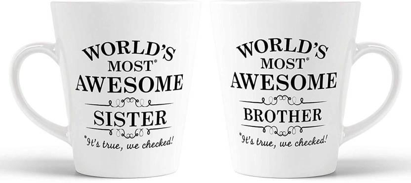 Ikraft Brother Sister Cute Printed Conicalmug Set Sister Brother