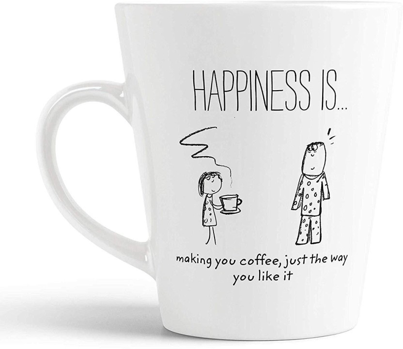 ikraft coffee conicalmug cartoon inspirational quotes happy