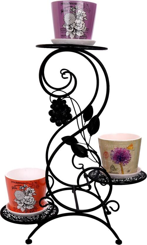 290 & Scrafts Floral Metal 3 Slot Pot Stand  Planter Stand ...