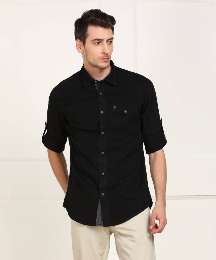 a82909044672 ARROW BLUE JEANS CO. Men's Solid Casual Black Shirt - Buy BLACK ARROW BLUE  JEANS CO. Men's Solid Casual Black Shirt Online at Best Prices in India ...