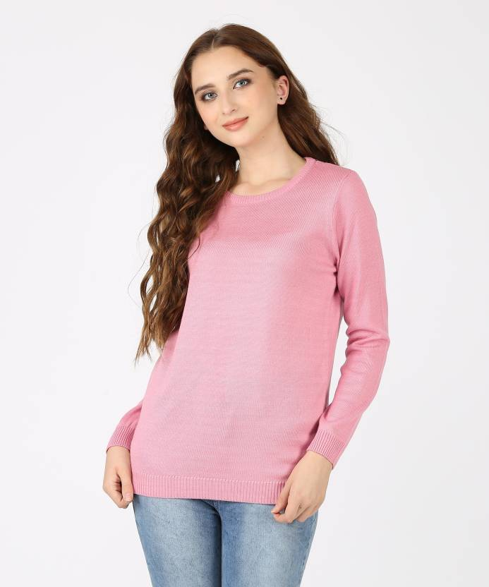 3fe405f5563 Metronaut Solid Crew Neck Casual Women s Pink Sweater - Buy Metronaut Solid  Crew Neck Casual Women s Pink Sweater Online at Best Prices in India