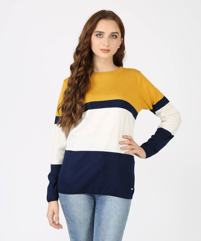 551d8b64b4e Metronaut Striped Crew Neck Casual Women s Multicolor Sweater - Buy  Metronaut Striped Crew Neck Casual Women s Multicolor Sweater Online at Best  Prices in ...