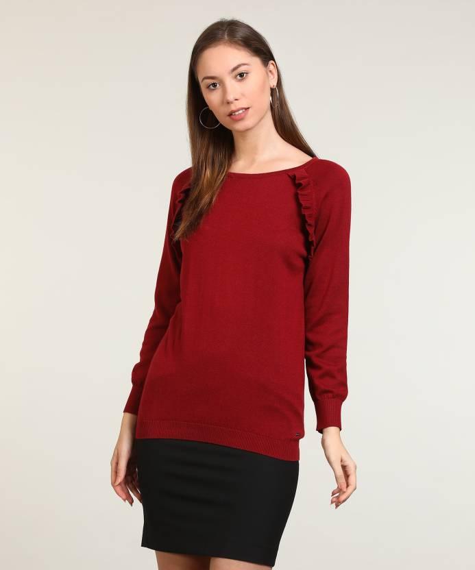 2738f491d ... Round Neck Formal Women Maroon Sweater - Buy Van Heusen Self Design  Round Neck Formal Women Maroon Sweater Online at Best Prices in India |  Flipkart.com