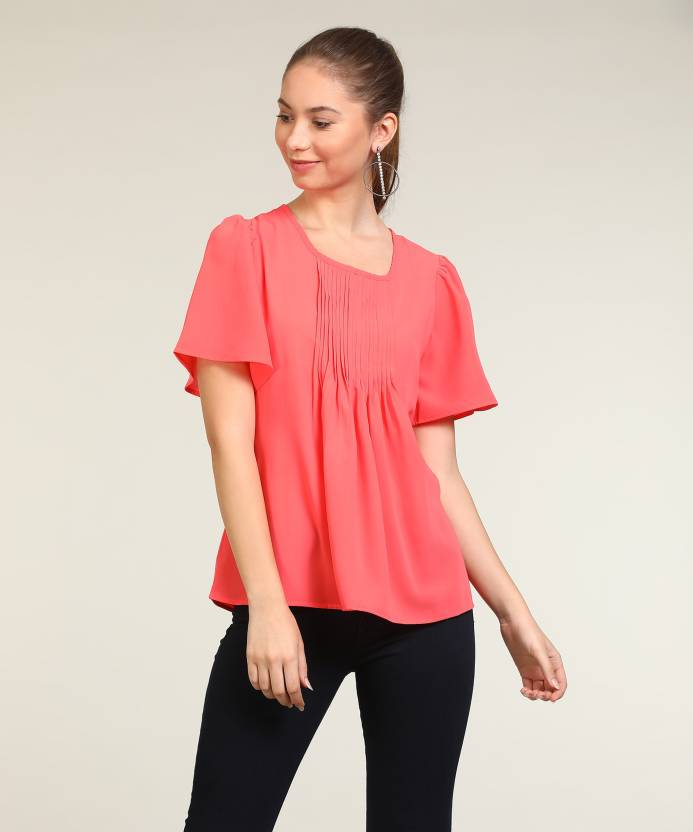 71ad8d7b40c Park Avenue Casual Bell Sleeve Solid Women's Pink Top - Buy Red Park Avenue  Casual Bell Sleeve Solid Women's Pink Top Online at Best Prices in India ...