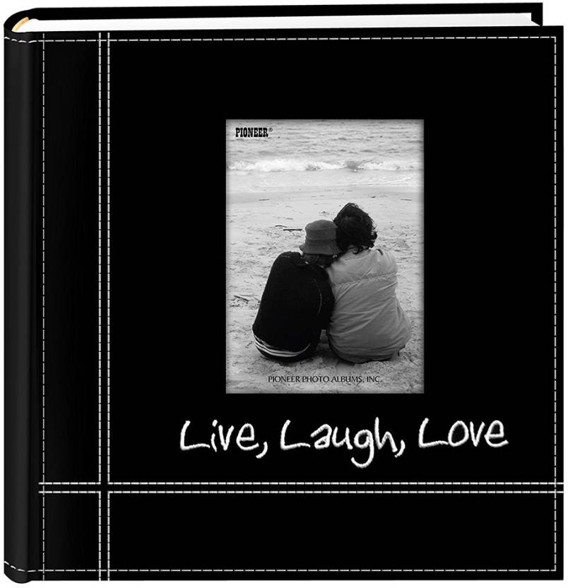 Pioneer Photo Albums Embroidered Live Laugh Love Black Sewn