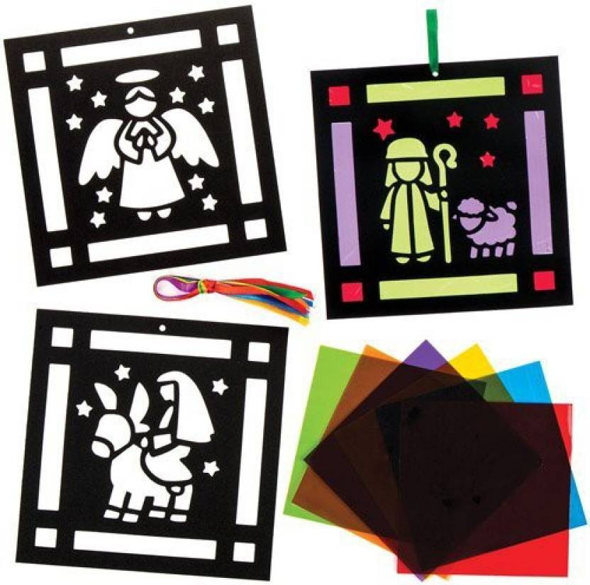 961837b25cc5 Baker Ross Nativity Stained Glass Effect Decoration Kits Perfect For ...