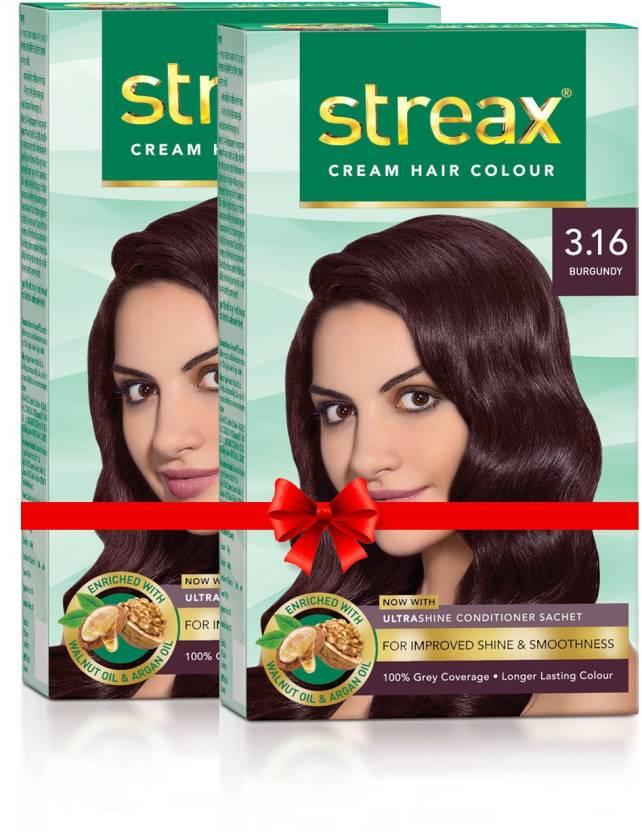 120126b8374 Streax Cream Hair Colour-Pack of 2 Hair Color (Burgundy No-3.16)