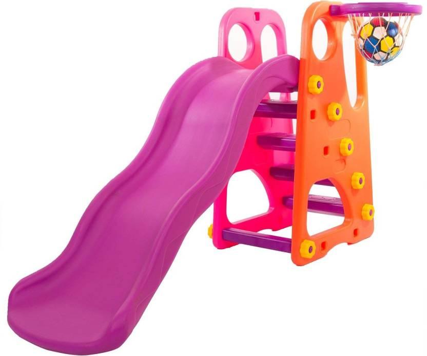 46ce4cf7 Baybee Folding Slide And Basketball Stand Set | First Slide Plastic Play  Climber | Basketball Hoop Adjustable Height | Junior ...