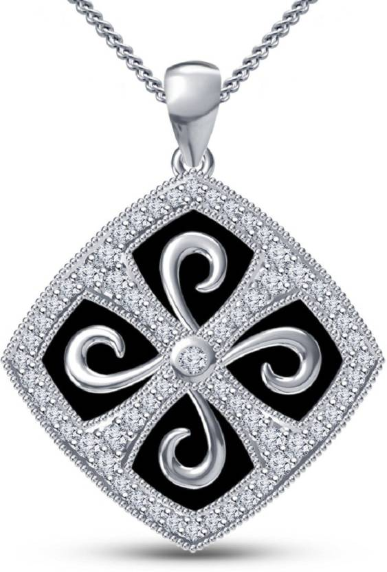 Kirati Fashion Jewelry Women S Pendant With Chain 14k White Gold Plated 925 Silver Round Cut Cubic