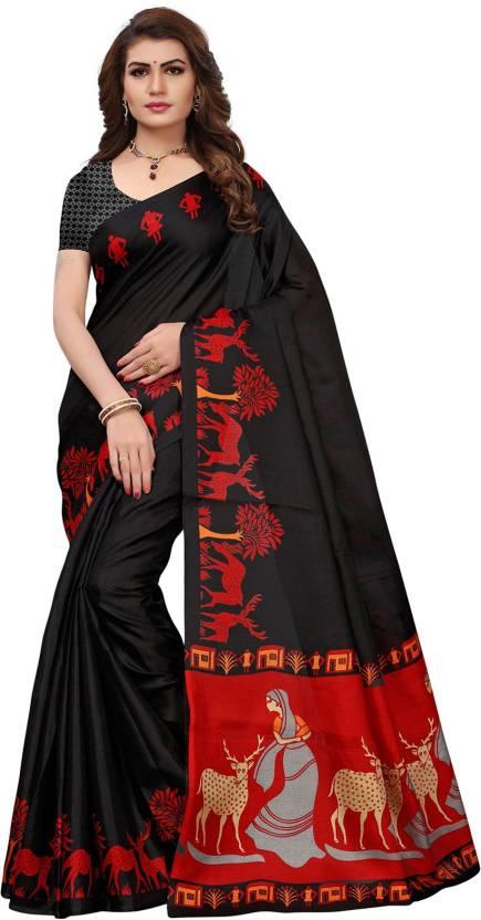 7602380e4c5 Buy Ishin Printed Bollywood Poly Silk Black Sarees Online   Best ...