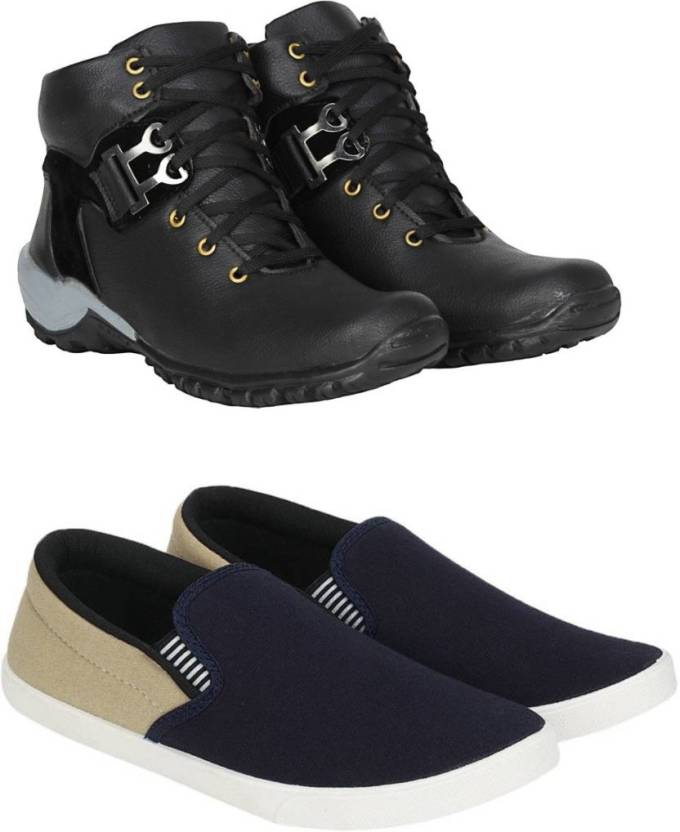 a4a07a0b4985c Jootiyapa Combo-Boot(Black-GoldenBlack)Loafer Boots For Men - Buy ...