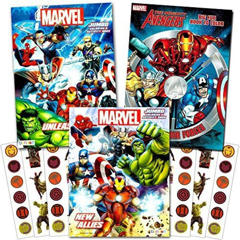 Marvel Avengers Heroes Coloring Book Super Set with Stickers ...