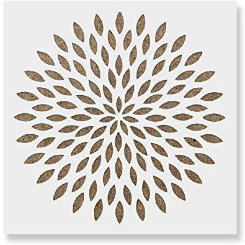 genrc dahlia mandala stencil template for walls and crafts