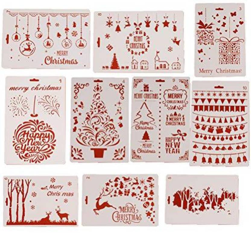 6f46d67bc730f Welecom 10 Pack Christmas Stencils Drawing Template Xmas Scrapbooking  Journal Stencil Template for Greeting Card DIY Art Craft P - 10 Pack  Christmas ...
