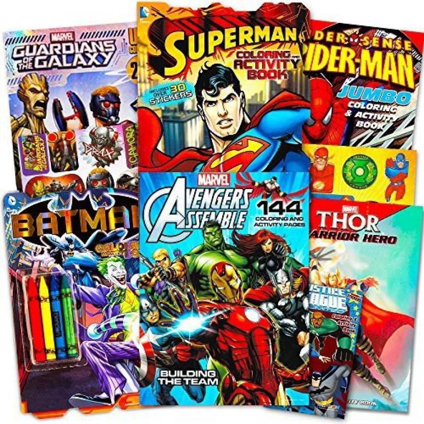 Genrc Superhero Giant Coloring Book Assortment 7 Books Featuring