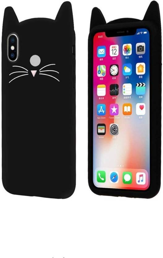 6d35039ea6 wrapitup Back Cover for 3D Cartoon Cute Cat Soft Silicon Back Bread Cat  Kitty Protective Soft Case for Vivo V9 (Black) (Black, Rubber)
