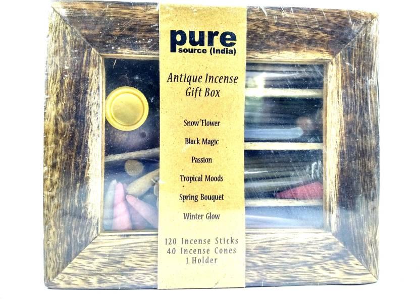 Pure ANTIQUE INCENSE GIFT BOX SNOW FLOWER, BLACK MAGIC, PASSION