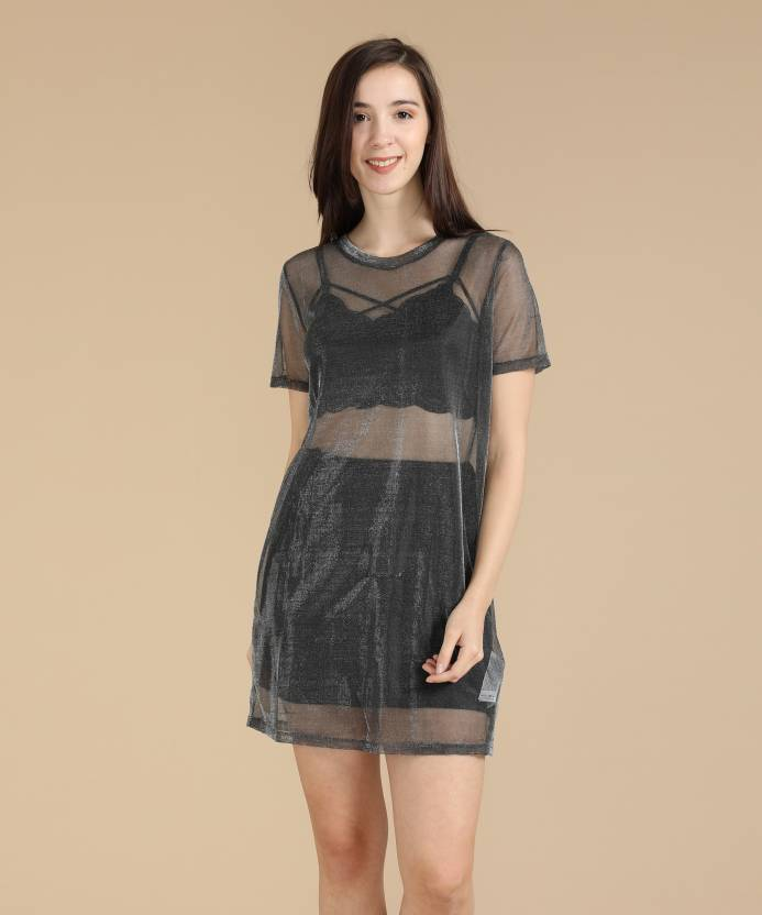 9101a6246e6 Forever 21 Women Shift Grey Dress - Buy GUNMETAL Forever 21 Women Shift  Grey Dress Online at Best Prices in India