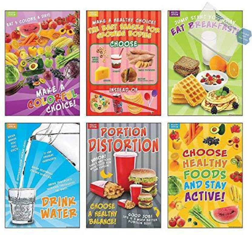 Bargain World Healthy Eating Posters (With Sticky Notes) - Healthy