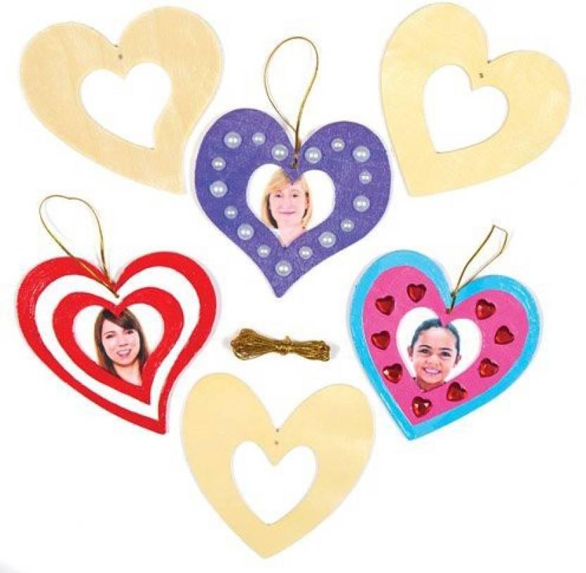 Baker Ross Heart Wooden Photo Frame Decoration Kit For Children To