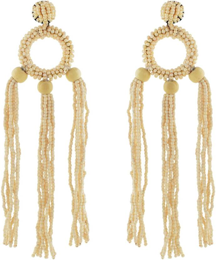 Archies Handcrafted Tel Earrings For Women In Cream Color Made With Beads 1 Pc