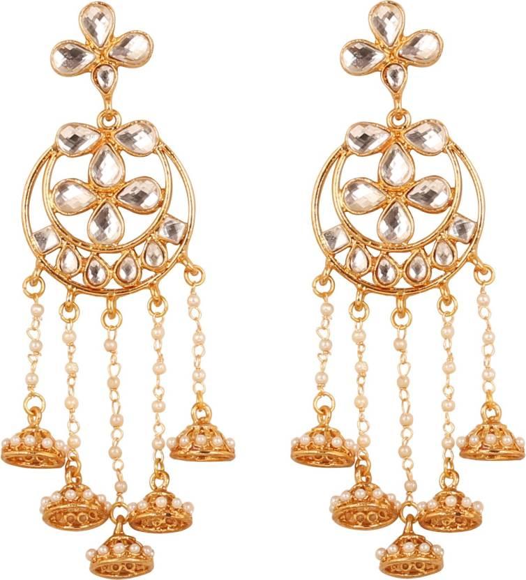 Engagement & Wedding Flight Tracker Ethnic Goldtone Kundan Polki Designer Dangle Earrings Set Bollywood Jewellery