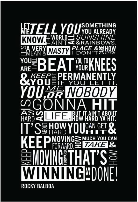 Rockey Balboa Typography Motivational Inspirational Quote
