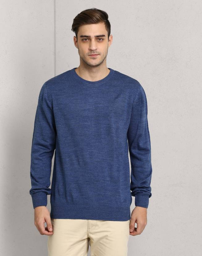 79a63373f93a Metronaut Solid Round Neck Casual Men Light Blue Sweater - Buy ...