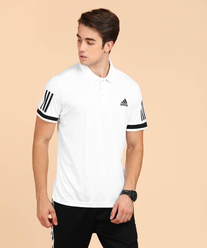 2deb5541 ADIDAS Solid Men Polo Neck White T-Shirt - Buy ADIDAS Solid Men Polo Neck  White T-Shirt Online at Best Prices in India | Flipkart.com