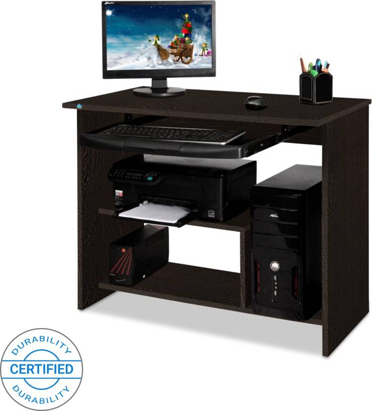 Delite Kom Lucky Computer Table Engineered Wood Desk Straight Finish Color Wenge