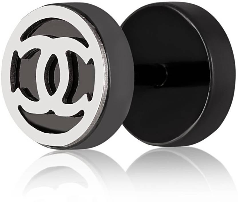 c5e1df1d7 Flipkart.com - Buy Asmitta Jewellery Amazing Chanel Design Stainless Steel Round  Black Single Stud Earring For Men Stainless Steel Stud Earring Online at ...