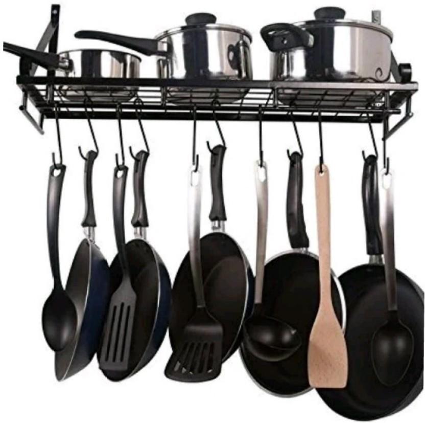 Kitchen Hanging Pot Pan Rack Iron Storage Shelf Cookware Holder Wall Mounted
