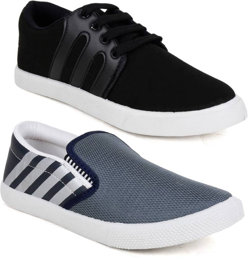 fe8303e16f Shoe Island POPULAR COMBO Fashion Grey Navy Blue Black White College Wear  Slip-On Mesh Canvas Casual Loafers Slip On Sneakers For Men (Grey, Navy,  Blue, ...