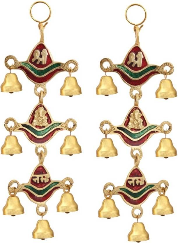 Handicrafts Paradise Shree Ganesha Nama Tripple Bell Hanging Pair In