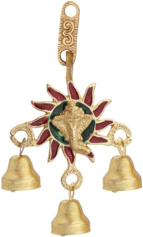 Handicrafts Paradise Ganesha Face Hanging With Bells In Metal By