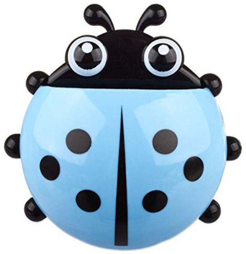 PAGALY Lady Bug Shape Toothpaste and Toothbrush Holder with Wall Mounting  Suction Cups for Bathroom Plastic Toothbrush Holder (Wall Mount) b5c1fd4aa6