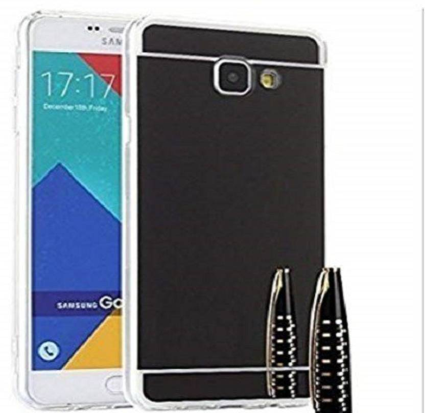 Premsons Back Cover for Samsung Galaxy A7 / A710 Soft Black TPU Metal Bumper with Acrylic