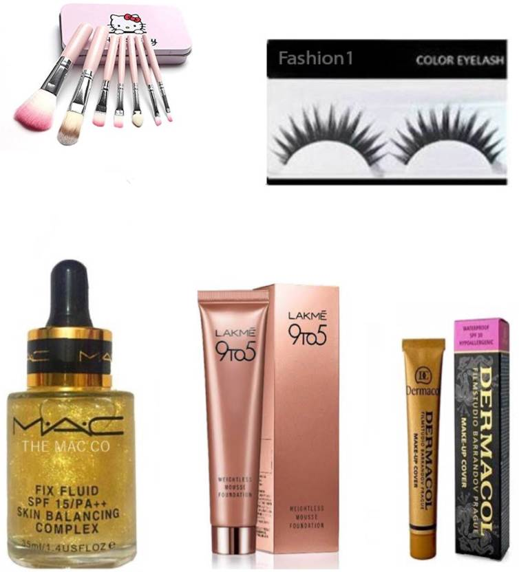 FASHION 1 Combo of Mac fix fluid serum,lakme 9to5 foundation,kitty makeup brush,dermacol with eyelashes (set of 5) (Set of 5)