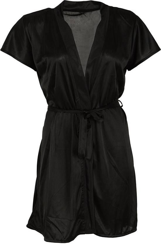 Shararat Women Nighty with Robe - Buy Black Shararat Women Nighty ... dbdd6bbdb