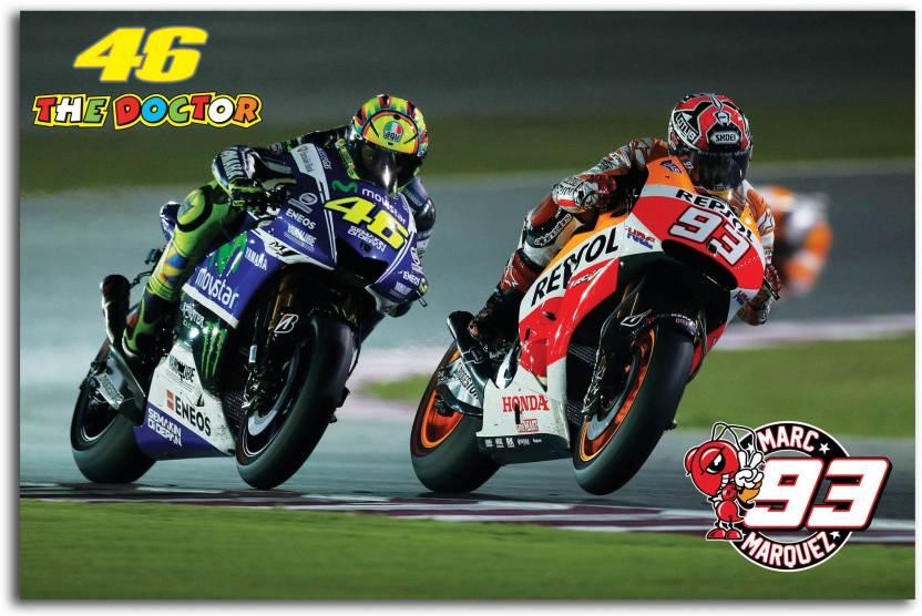 Moto GP Wall Poster - Valentino Rossi vs Marc Márquez - Racing Clash On  Racing Track - Movistar Yamaha - Moto GP - Large Size Poster - HD Quality -  36 ... 22548ff9f52
