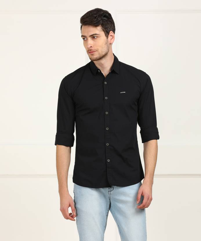 e0e3588acfb Wrangler Men s Solid Casual Black Shirt - Buy Wrangler Men s Solid Casual Black  Shirt Online at Best Prices in India